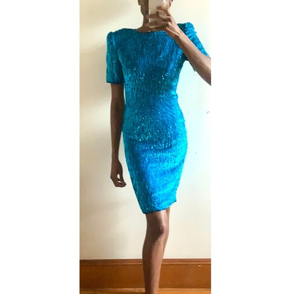 Stretchy US Size 9  10 Vintage 70s Smocked Red /& Navy Blue Maxi Dress Sundress